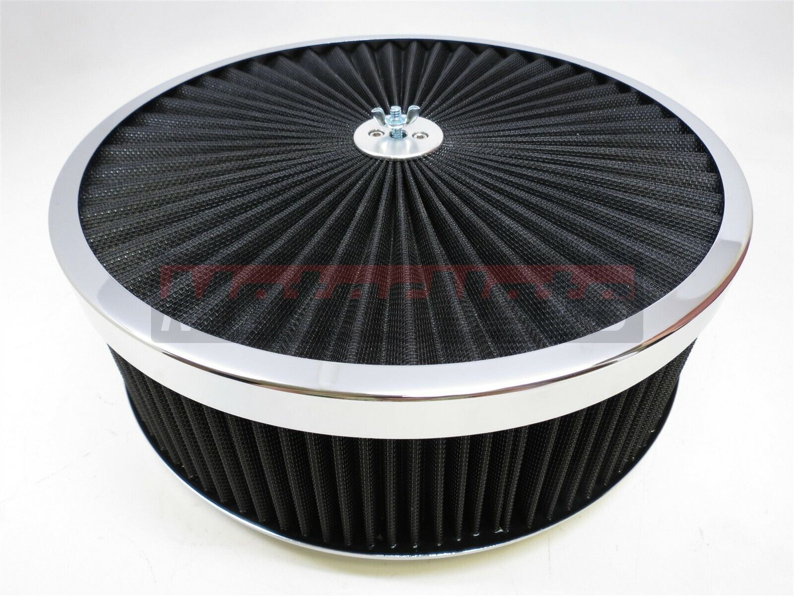 """14/"""" X 4/"""" Round Chrome Black Washable Air Cleaner Drop Base Ford Chevy SBC 350"""