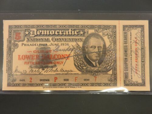 1936 Democratic National Convention Ticket Fifth Session Roosevelt FDR UNUSED