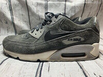 Size 8.5 NIKE Men AIR MAX 90 LEATHER 652980 012 Grey Black (Nike Air Max 90 Leather Black Grey)