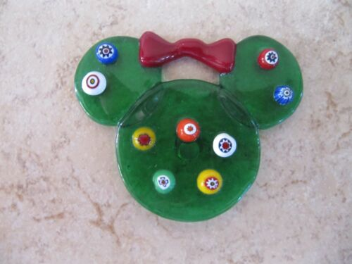 Minnie Mouse Green Glass Disney Magnet with Red Bow