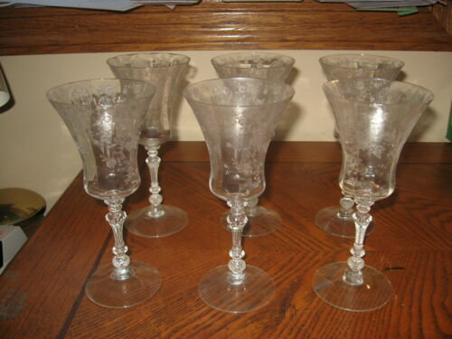 Set Of Six Vintage Cambridge Elegant Glass Rosepoint 10 Ounce Water Stems 3500