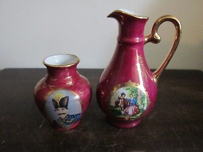 Yamasen Gold Collection Porcelain Japan Small Vase And Pitcher Portrait Red