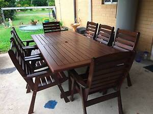 Outdoor 8 seater wooden table with 8 chairs Ransome Brisbane South East Preview