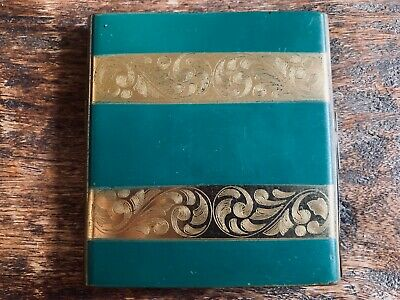 Vintage Art Deco Elgin American Green/Gold Engraved Cigarette Case • No Monogram
