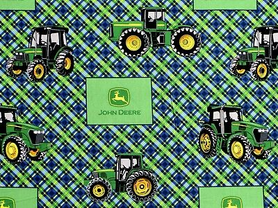 """Used, JOHN DEERE TRACTOR FABRIC  FARM BLUE PLAID  SPRINGS CREATIVE  8"""" REMNANT - SCRAP for sale  Shipping to India"""