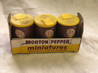 Lot of 3 Vintage Morton Pepper Miniature Shaker Set Umbrella Girl