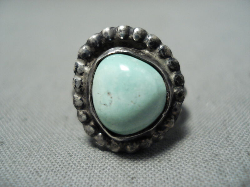EARLY VINTAGE NAVAJO CERRILLOS TURQUOISE STERLING SILVER RING OLD