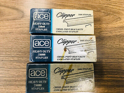 Vintage Ace Clipper Heavy-duty Undulated Chisel Point Staples 2500 Count 78000