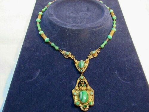 Antique Czech Neiger Egyptian Revival Necklace Green Glass Rhinestones Lovely!!