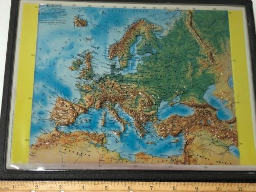Vintage Topographic EUROPE Map Plastic Rico Florence Italy 1960
