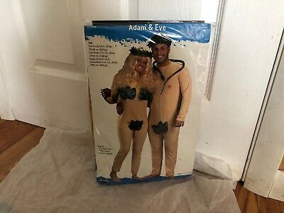 Adam and Eve Couples Costume Leaf Jumpsuit Naked Nude Adult 2 Outfits (Adam Eve Costume)