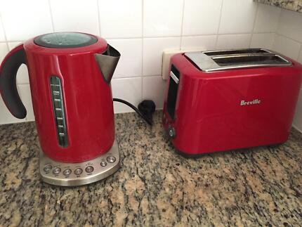 Breville matching red kettle and toaster