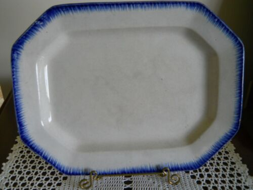 "LEEDS 14"" BLUE FEATHER EDGE IRONSTONE PLATTER 1825 - 1840 ENGLAND"