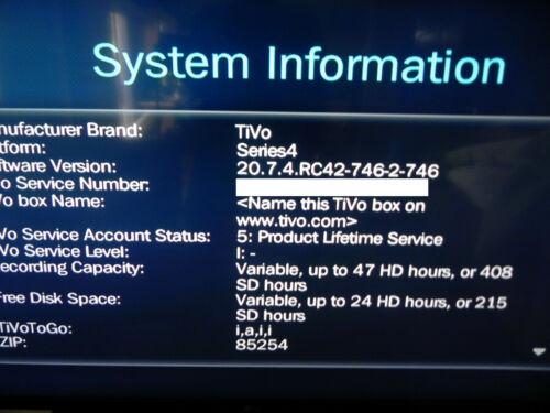 TiVo Premiere Series4 TCD746320 DVR w/ Product Lifetime Service Remote FREE SHIP
