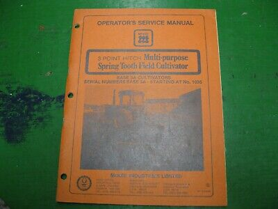 Mckee 3 Point Spring Tooth Cultivator Manual Book Nos Original