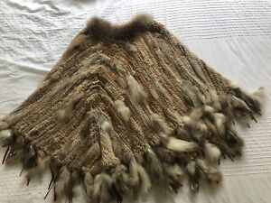 100% real rabbit fur poncho