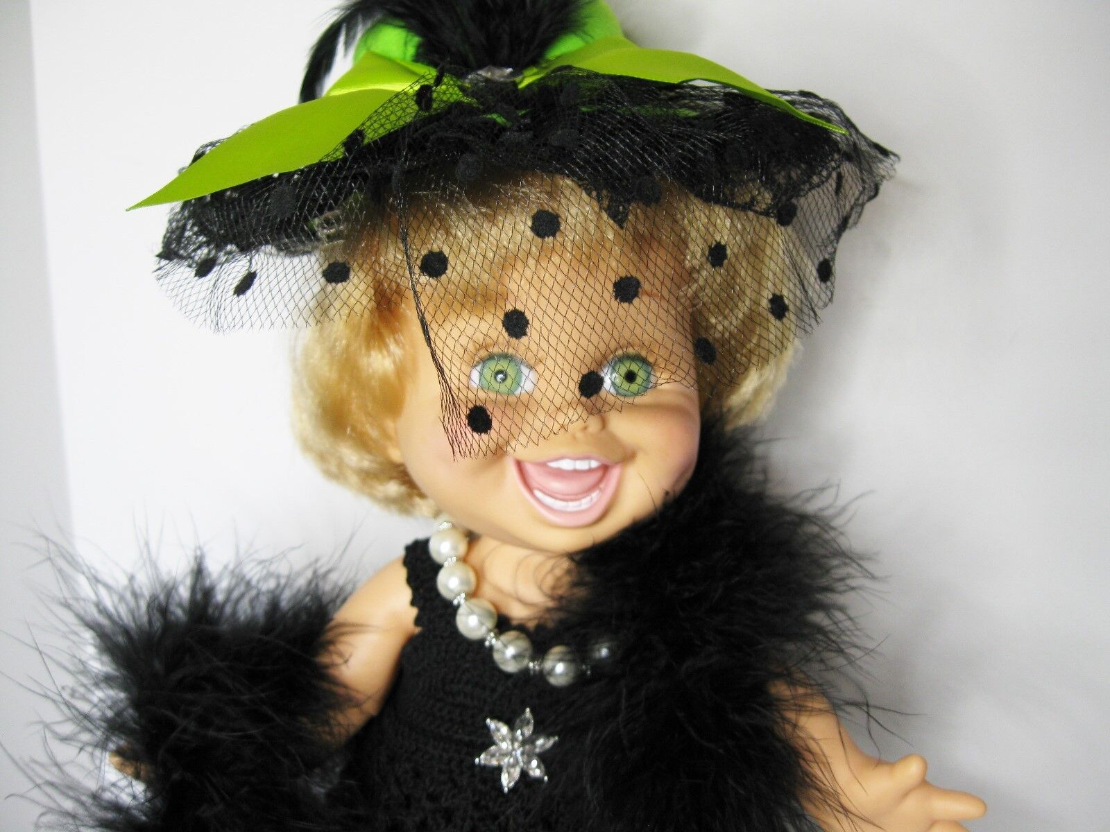 GALOOB BABY FACE DOLLCLOTHES HANDMADE CROCHET BLACK DRESS AND HAT