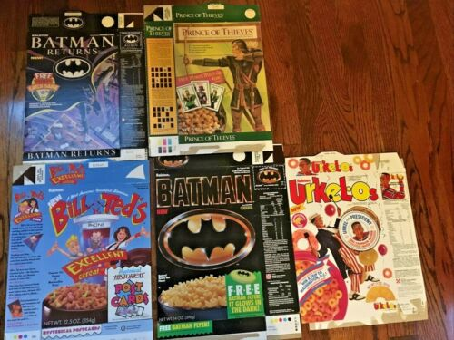 5 Vtg Cereal Boxes Ralstin Batman Urkel-os Prince Of Thieves Returns Bill & Ted