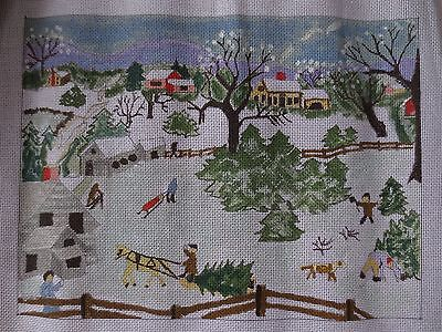 handpainted christmas winter country scene needlepoint canvas 18ct