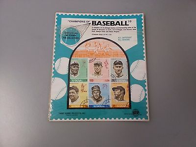 1969 CHAMPIONS OF BASEBALL COMPLETE SET OF 6 POSTAGE STAMPS- RUTH COBB MUSIAL