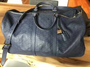 Limited Edition Blue Leather Gucci Duffel Bag
