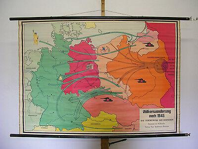 Schulwandkarte Wall Map Expulsion German Ostgebiete 136x95cm ~ 1960 W GDR