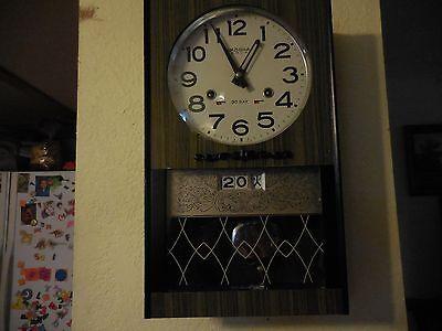 Antique AIKOSHA Pendulum Windup Wall Clock with Date, Day Gong Clock Circa 50's
