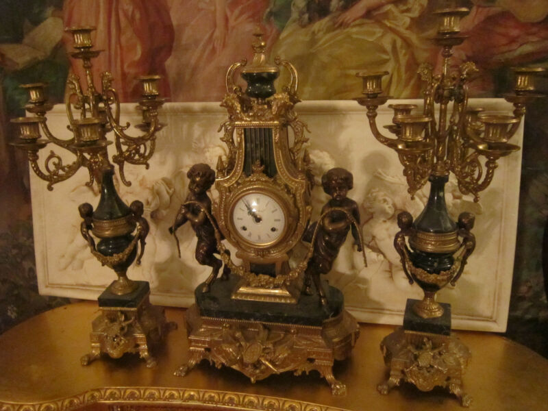 French Neoclassical Figural Putti Bronze ash-gray Marble 3pc Mantel Clock set