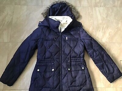 Women's navy blue hooded Nautica quilted down jacket size L