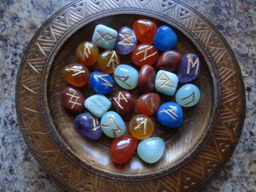Chakra Gemstone Runes Set Wiccan Pagan Altar Supply Divination Spells