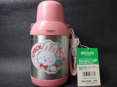 TIGER Thermos  Water Bottle Double stainless Bottle Check Rabbit Made in JAPAN