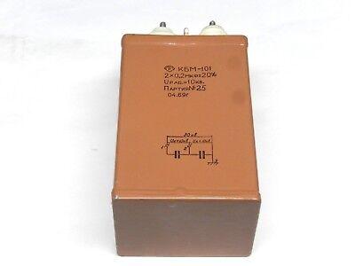 Kbm-101 Russian High Voltage Pulse Paper In Oil Pio Capacitor 2x0.2 Uf 10 Kv