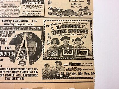 The Three Stooges Ad  Two ads from 1959 and 1960 Moe Larry Curly