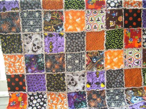 """Handmade XL Rag quilt throw Halloween skulls bats Casper Mickey    64"""" x 72"""""""