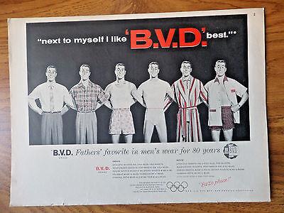 1956 B.V.D Underwear Men's Wear Ad Next to Myself I Like BVD (Best Underwear To Wear)