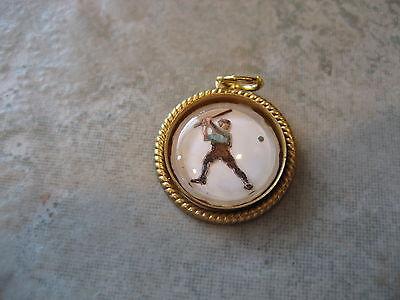 Vintage Baseball Player Costume (BASEBALL or Softball PLAYER BATTER vintage glass intaglio pendant)