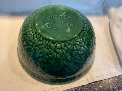 Vintage 1969 Haeger Pottery Green Bowl Planter Pebble Textured