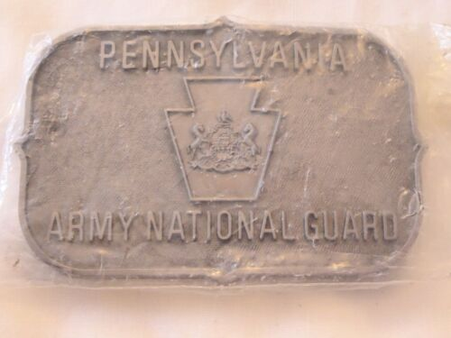 PENNSYLVANIA ARMY NATIONAL GUARD LTD ED SILVER RECT. BELT BUCKLE, NEW, UNOPENED!