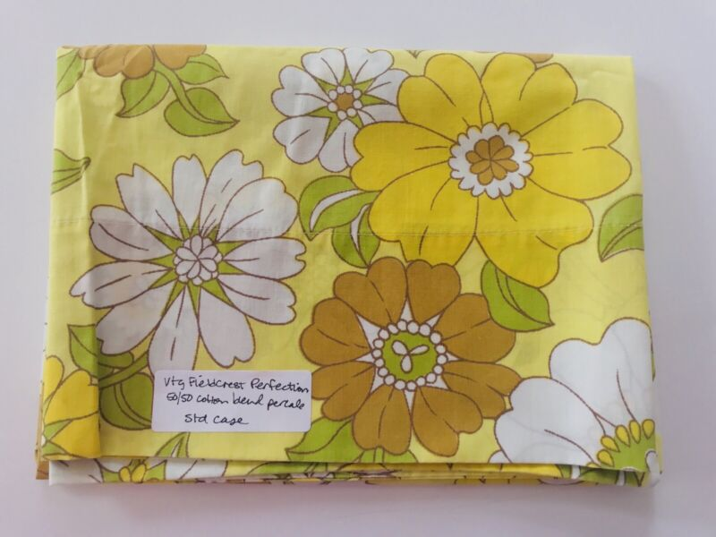 Vintage Standard Pillowcase Fieldcrest Perfection Yellow Gold Floral Flower