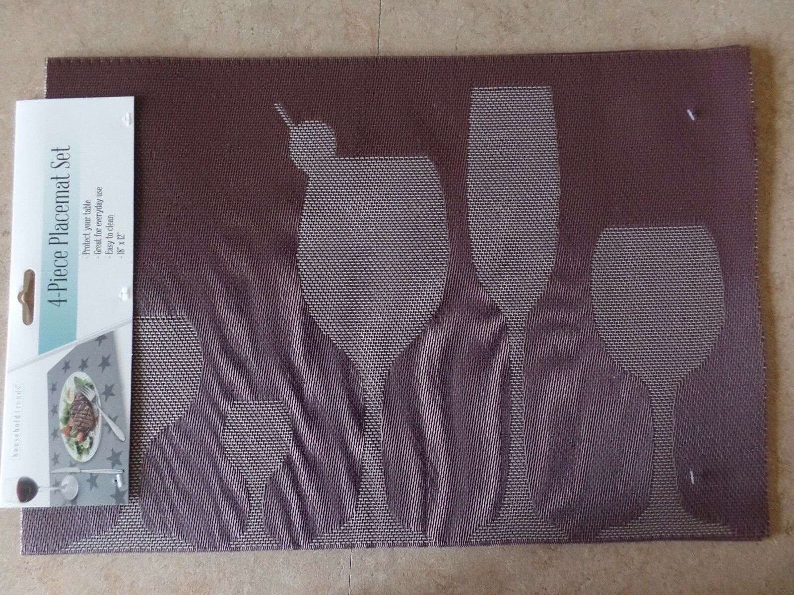 Placemats for dining table or kitchen, reversible, PVC vinyl
