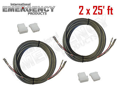 2x 25 Ft Strobe Cable 3 Conductor Wire Amp Power Supply W Connector For Whelen