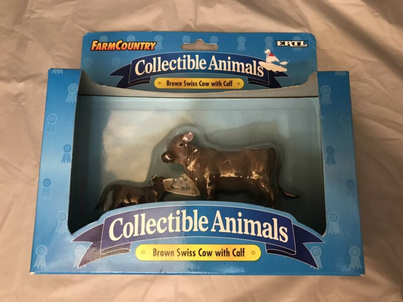 BRAND NEW ERTL Farm Country Collectible Animals - Brown Swiss Cow with Calf