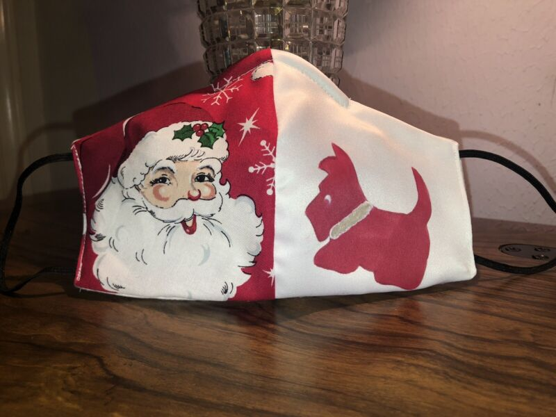 Hand Painted Red Scottie & Santa Mask