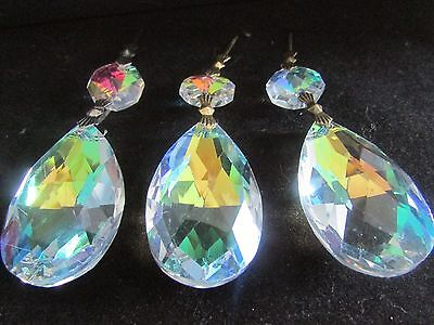 """10-   2 1/2  """" TEAR AB AAA CUT LEAD  CRYSTALS PRISM CHANDELIER PARTS"""