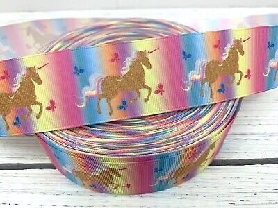 Grosgrain Ribbon Pink Gold Gradient Unicorn 1.5