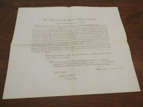 Theodore Roosevelt - Document Signed as Pres - Appoints US Ambassador to Canada