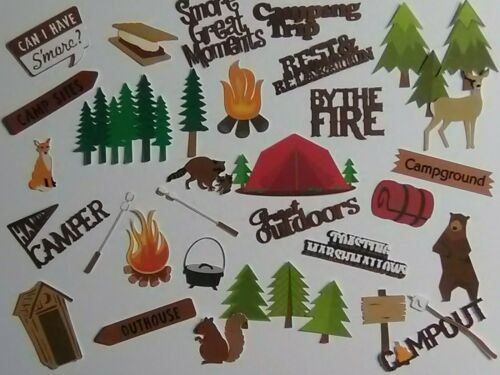 30 pc CAMP related diecuts in PRINT & brown words for scrapbook greeting card