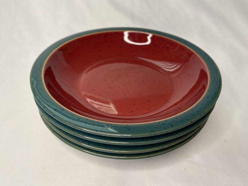 """Set of 4 Denby-Langley Harlequin Rim Soup Bowls Red Green Speckled 8-1/4"""""""
