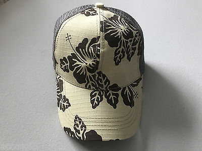 UNISEX BASEBALL CAP BY GEAR FLOWER DESIGN KHAKI BROWN GREY ONE SIZE FITS ALL