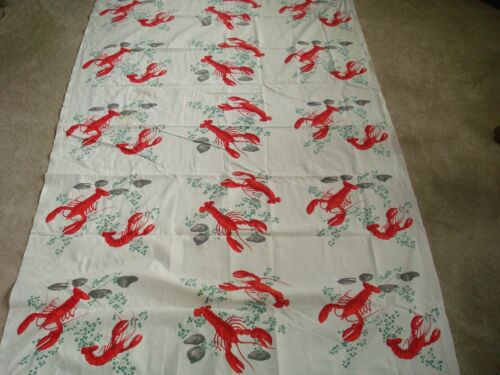 Vintage Wilendur Lobster Clam Tablecloth Clambake 53x82 50s Linens Wilendure